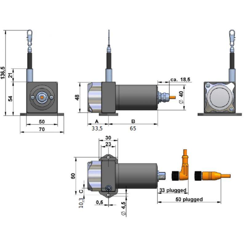 SX50- Draw wire sensor 1250 mm, analog output Potentiometer 1kOhm