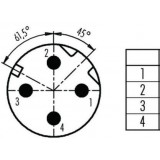 Connecteur BINDER M12 4 broches mâle Catégorie 5