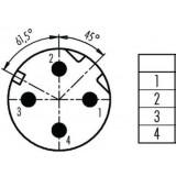 Connector M12 4 pin, angled, BINDER -ID251
