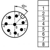 Connector M12 8 pin, male, BINDER - ID249